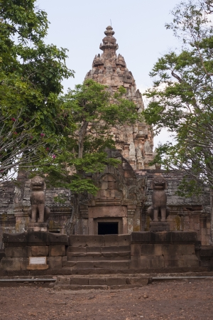 The ancient carved stone panels.Photo of Phanom Rung Historical Park. photo