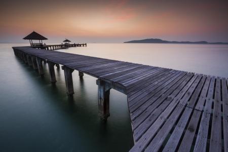 woody bay: bridge in amazing sunrise.
