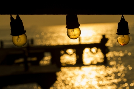 a lamp and sunrise bokeh photo