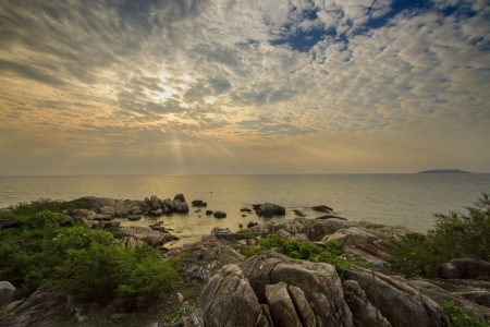 Sky Sea and Beach in Munklang Island Rayong Provice Thailand. Stock Photo
