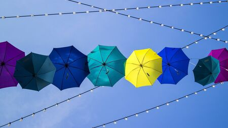 Umbrella hanging on the sky Stock Photo