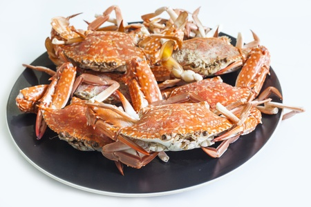 Delicious boiled Flower Crab with seafood dip