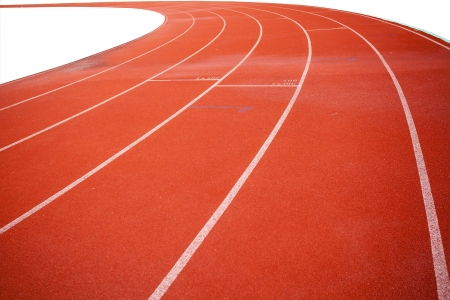 relevos: L�nea curva en pista de atletismo Foto de archivo