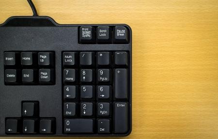 numpad: Numpad keyboard on wood table