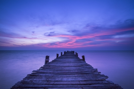 pier in amazing sunrise  Stock Photo
