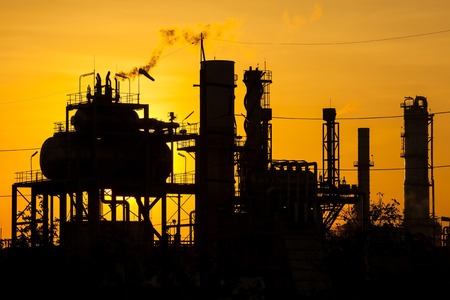 rafinery: Petrochemical plant in morning right. Stock Photo