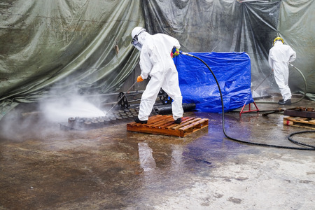 Jet cleaning in petrochemical plant. Stock Photo