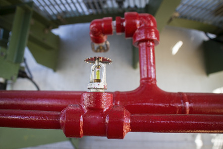 fire extinguishing: Fire sprinkler in petrochemical plant.