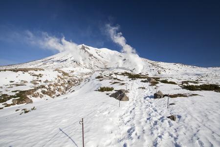 snow covered mountain: Snow covered Mountain Asahidake, Daisetsusan National Park, Hokkaido, Japan Stock Photo