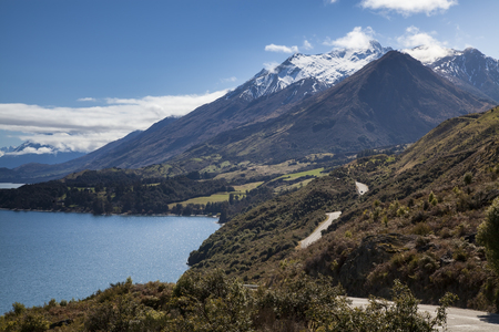 Scenic road from Queenstown to Glenorchy in New Zealand Stock Photo