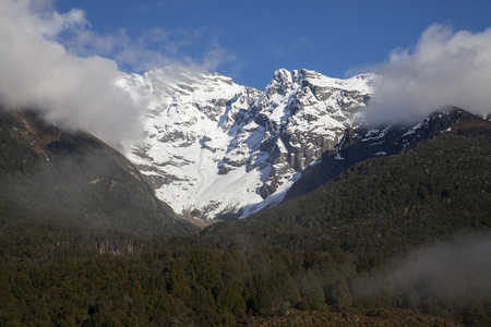 Mountain peak and snow in New Zealand.