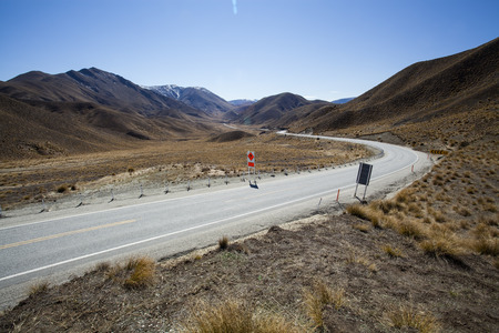 Panorama Road in Lindis Pass ,Otago region, New Zealand