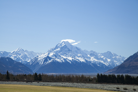 landscape of mount cook national park, South Island, New Zealand, Stock Photo