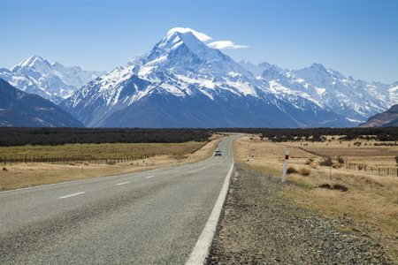 Road to mount Cook national park, Southern Alps, New Zealand