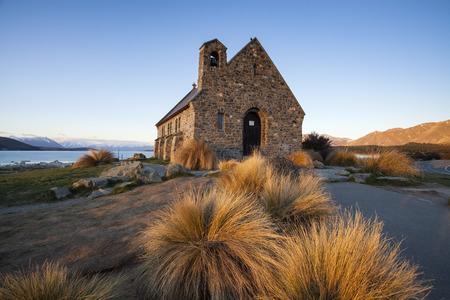 good shepherd: Church of the good shepherd landmark of Lake Tekapo, south island, New Zealand Stock Photo