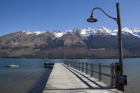 Glenorchy Restored Steamship Depot  is a beautiful tourist landmark in Glenorchy, New Zealand Stock Photo