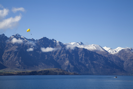 Parachute at ParaLake Wakatipu in Queenstown, New Zealand Stock Photo