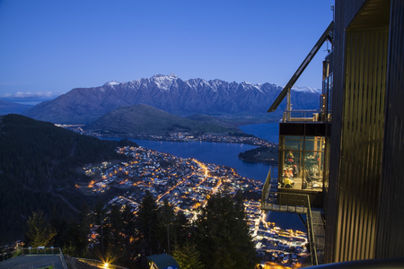 Mountain lake and view of Queenstown in spring season , Queenstown New Zealand