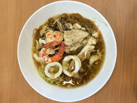 fried noodle: Fried noodle with seafood Stock Photo