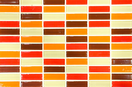 Lime red yellow and brown mosaic tiles background.
