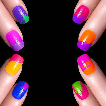 nail art: Nail Polish. Art Manicure. Multi-colored Nail Polish. Beauty hands. Stylish Colorful Nails