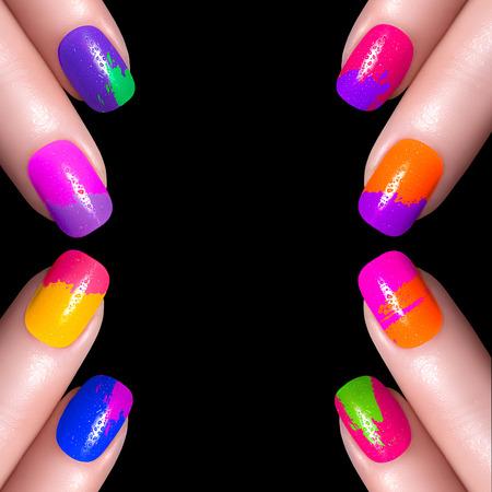 yellow  art: Nail Polish. La manicura del arte. Esmalte de u�as multicolor. Belleza manos. U�as de colores con estilo Foto de archivo