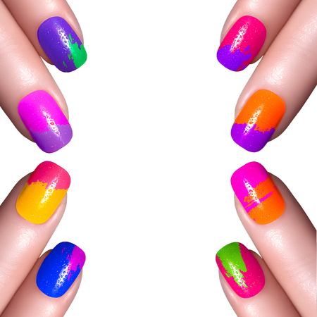 nail care: Nail Polish. Art Manicure. Multi-colored Nail Polish. Beauty hands. Stylish Colorful Nails
