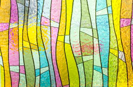 portrait orientation: Multicolored stained glass church window, portrait orientation Stock Photo