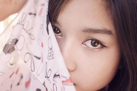 chinese sex: beautiful asia woman close up and send feeling from eye Stock Photo