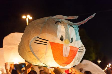 bugs bunny: Bugs Bunny lamp yee peang or Koem lory chiang mai local festival of thailand. Editorial