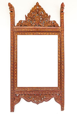 thai craft: craft wood thai culture frame isolated on white . Stock Photo