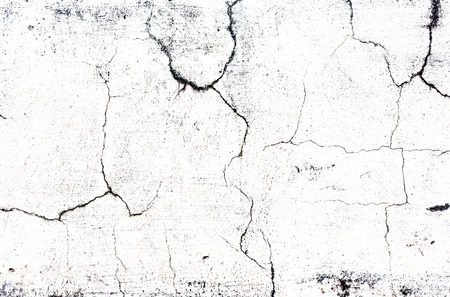 squalid: cracked concrete old while wall background.
