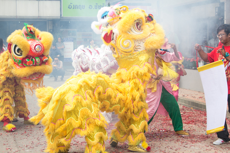 Chiang Mai,Thailand - 25 July 2015 : At Waroros Market Chinese Lion Dance , Area in Chiang Mai , Thailand Editorial