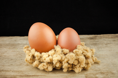 brown eggs: fresh brown eggs on wood background .