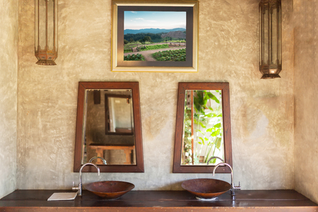 master bath: Fragment of a local thai bathroom . Stock Photo