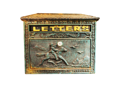 envelope decoration: letter box cowboy with clipping path . Stock Photo