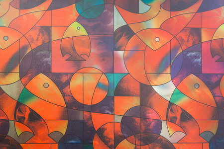 diagonals: Multicolor of glass window polygonal and fish . Stock Photo