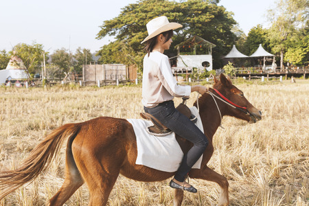 scamper: Beautiful young woman is smiling riding a horse on the field with relax time . Sideways to the camera. Freedom, joy, movement