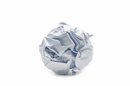 A screwed up piece of paper in ball shape., Crumpled sheet of paper isolated ., Junk paper can be recycle on white background