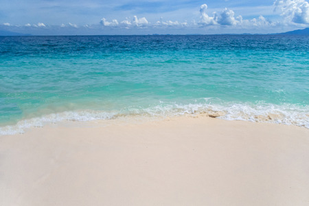 Blue Sea sand sky with tiny cloud, loaction in Thailand 写真素材