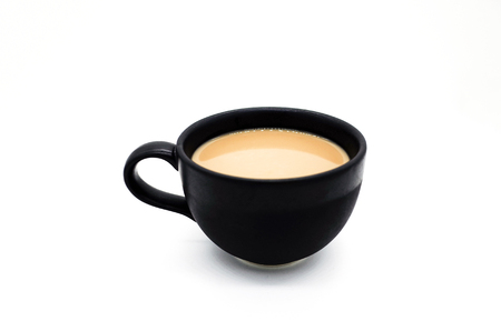 Black cup with coffee on white background.