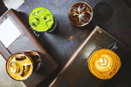 Top angle view of various coffee.