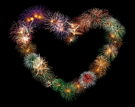 heart shape texture made from real fireworks Stock Photo