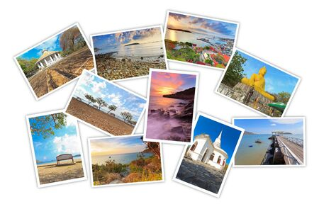 photos of tourist attraction at Sichang Islands Chonburi Thailand collages on white background Stock Photo - 16883361