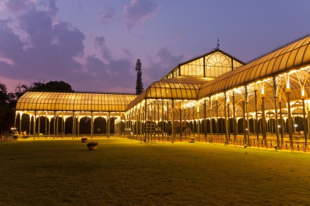 BANGALORE,INDIA - FEBRUARY 19 : The Glass House of Lal Bagh Botanical Gardens glowing at night on February 12,2011 Bangalore India