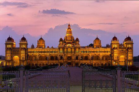 MYSORE,INDIA - FEBRUARY 22 : Mysore Place glowing at twilight time on February 22,2011 Mysore India