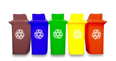 rubbish bin: Colorful Recycle Bins Stock Photo