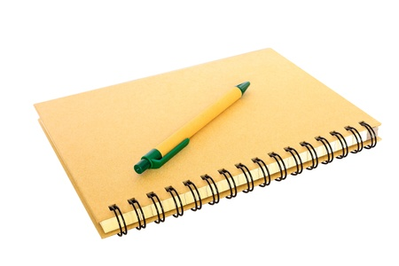 recycled paper notebook and pen which the body made from recycle paper