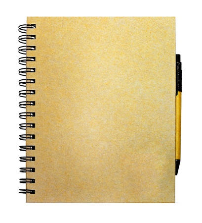 recycle paper: recycled paper notebook and pen which the body made from recycle paper
