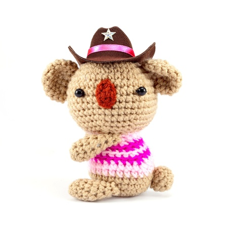 knitting bear wear cowboy hat
